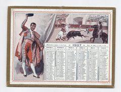 Petit CALENDRIER PTT ALMANACH 1927 / Illustration BEUZON Corrida Toro Toreador Torero Danseuse Flamenco Guitare - Kalender