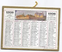 Petit CALENDRIER PTT ALMANACH 1936 / Illustration BEUZON Chateau Port Bateaux - Calendriers