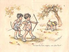 """ILLUSTATEUR  """" Germaine BOURET """"  Affichette   -  Enfants , Pommes , Tir à L'Arc  -  Voir Description - Bouret, Germaine"""
