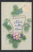 CPA FANTAISIE CELLULOID CELLULOIDE DOREE OR - Art Nouveau Art Déco - Peinte à La Main - Jolies Fleurs Bonne Année -#562 - Nouvel An