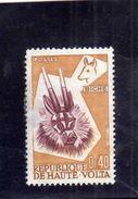ALTO VOLTA HAUTE VOLTA UPPER VOLTA HAUTE VOLTA 1960 Masque Biche Deer Mask MASCHERA CENT. 40c 0,40F USATO USED OBLITERE' - Alto Volta (1958-1984)
