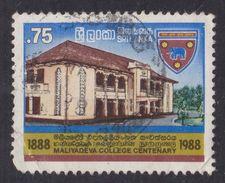 1988 Sri Lanka 0.75 Cents Maliyadeva College Used Stamp | Elephants | School - Sri Lanka (Ceilán) (1948-...)