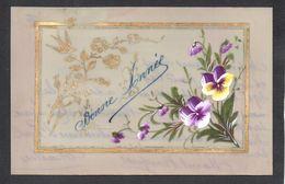 CPA FANTAISIE CELLULOID CELLULOIDE DORURE OR - 1916 - Peinte à La Main - Oiseau Fleurs Bonne Année -#563 - New Year