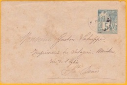Circa 1900 Ile De La Réunion - Enveloppe Entier Postal 5 Centimes Vert Alphée Dubois YT 49 - Vers St Denis De La Réunion - Réunion (1852-1975)