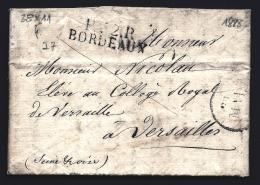 LETTRE PRECURSEUR FRANCE- MARQUE POSTALE : P.32 P. BORDEAUX- + TAMPON DATEUR  DE 1828-  TAXE 8 DECIMES AU VERSO- - 1801-1848: Precursors XIX