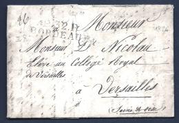 LETTRE PRECURSEUR FRANCE- MARQUE POSTALE : P.32 P. BORDEAUX-  DE 1826-  TAXE 8 DECIMES AU VERSO-2 SCANS - 1801-1848: Precursors XIX