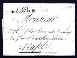 LETTRE PRECURSEUR FRANCE- MARQUE POSTALE : P.32 P. BORDEAUX-  DE 1807 POUR NAPLES-  TAXE 15 DECIMES AU VERSO- - 1801-1848: Precursors XIX