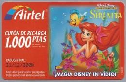 ES.- AIRTEL. CUPON DE RECARGA 1.000 PTAS. - MAGIA DISNEY EN VIDEO !. Walt Disney. SIRENITA. 2 Scans - Spanje