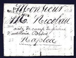 LETTRE PRECURSEUR FRANCE- MARQUE POSTALE : P.32 P. BORDEAUX POUR NAPLES-  DE 1808-  TAXE 15 DECIMES AU VERSO- - 1801-1848: Precursors XIX