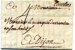 Lettre  Avec  Marque  Linéaire  CHAGNI ( 28 X 4  - Indice 12 )+ Couches  Manuscrite  Pour  Dijon  1774 - Marcofilie (Brieven)