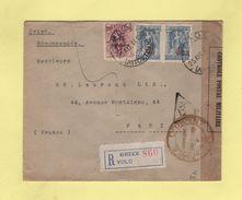 Armee D'Orient - Lettre Recommandee De Volo Avec Controle Postal Militaire Marseille - 1917 - Tabac - Guerra Del 1914-18