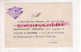 87- BUSSIERE POITEVINE-LAMBERGEMENT- CARTE AERO CLUB LIMOUSIN-FETE PROPAGANDE AERIENNE 13-10-1944-AVIATION-CONFOLENS - Documents Historiques