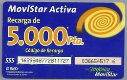 ES.- Telefonica De Espana. MOVISTAR ACTIVA RECARGA DE 5.000Pta. Codigo De Recarga. 2 Scans - Spanje