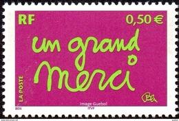 France N° 3637 A ** MESSAGE - Un Grand Merci (sans Perforations Gomme Brillante) - Neufs