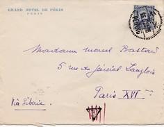 Enveloppe Timbre Chine Via Siberie Pour La France  Obliteration Peiping 1935 Grand Hotel De Pékin - China