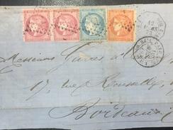 FRANCE -  RARE Obl Tricolore Avec Paire N°49 Obl Ancre + N° 37 Obl Ancre + N° 48 Obl Ancre - 1870 Uitgave Van Bordeaux