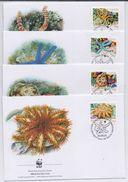 British Indian Ocean Territory 2001, WWF FDC, Coral, Sealife, On 4 Covers - British Indian Ocean Territory (BIOT)