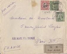 Enveloppe Timbre Chine Shanghai Via Hanoi Air Mail Airmail Par Avion Pour La France 1936 - Chine