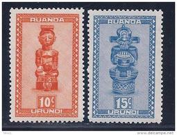 Ruanda Urundi, Scott # 90-1 MNH Carved Figures, 1948 - Ruanda-Urundi