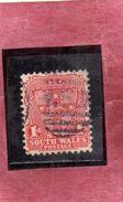 AUSTRALIA NEW SOUH WALES 1897 SEAL SCUDO SIGILLO ONE PENNY 1p USATO USED OBLITERE' - 1850-1906 New South Wales