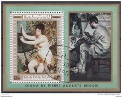 "Bf. 60B Manama 1970 "" Diana ""  Quadro Dipinto Da P.A. Renoir Preoblt. Impressionismo Paintings Perforato - Nudi"