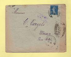 Armee D'Orient - Lettre De Salonique Pour La Suisse - Ouvert Par L Autorite Militaire 309 - 25c Semeuse - Poststempel (Briefe)