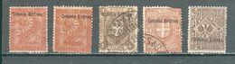 ERYTHREE ; Colonie Italienne ; 1893-1922 ; Y&T N° 2-12-13-19 ; Lot : 01 ; Neuf/oblitéré - Eritrea