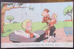 Carte Postale Militaire Humoristique - Couple, Nourrice - Est-ce Que Je Mets Mes Doigts Dans Sa Gamelle, Moi ? - Humoristiques
