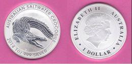 Australia Ounce 2014 Dollar Oncia OZ Crocodile Coccodrillo - Moneta Decimale (1966-...)