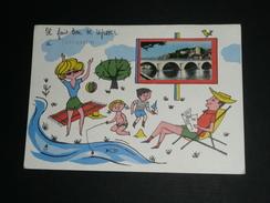 Rare CPM CPSM, Carte Postale, Dordogne, Périgord Noir, TERRASSON, Illustrée Touristes Vacance, Pont - France