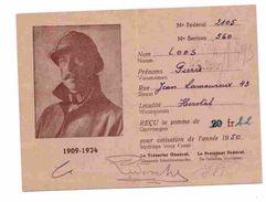LES VETERANS DU ROI ALBERT 1er  Carte De Membre  1950 - Cartes