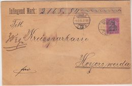 GERMANY 1904 (8.10.) CHARGE COVER BERLIN (cpl.seals) Mi 77 TO HOYERSWERDA - Allemagne