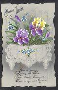 JOLIE CPA FANTAISIE CELLULOID DENTELEE - Art Nouveau Déco - 1912 - Iris Pourpre - Peinte à La Main - Bonne Année -#566 - Nouvel An