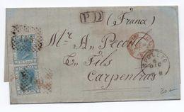 """1870 - LETTRE De SPOLETO Pour CARPENTRAS Avec CACHET ROUGE """"ITALIE / AMB. M. CENIS"""" - 1861-78 Vittorio Emanuele II"""