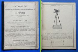 Catalogo Objectifs, Appareils & Accessoires Photographiques J. Wich - 1890 Ca. - Vecchi Documenti