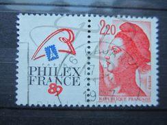 VEND BEAU TIMBRE DE FRANCE N° 2461 , BANDE PHOSPHORE A CHEVAL VERTICALEMENT !!! - Variétés: 1980-89 Oblitérés