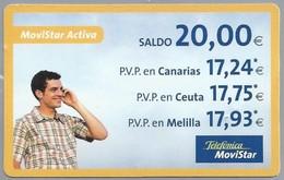 ES.- Telefonica. MoviStar Activa. Saldo 20,00 €. -. 2 Scans - Spanje