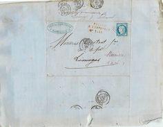 LETTRE Cérès 25c Bleu De Marseille Retour à L'envoyeur  à Limoux 1875  2 Scans - Storia Postale