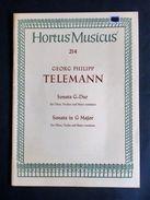 Musica Spartito - G. P. Telemann - Sonata In G Major - N. 214 - 1973 C.a - Old Paper