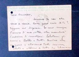 Cartolina Intestata - Brigata Artisti Di Novara - Circolo D'arte E Lettere - Cartes Postales