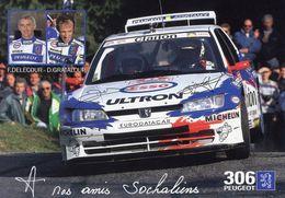 Championnat De France Des Rallyes 1997  -  Delecour/Grataloup - Peugeot 306 Maxi  - Carte Postale Promo - Rally Racing