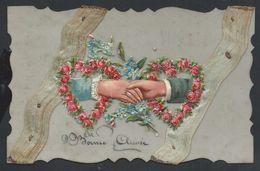 +++ CPA - Carte Fantaisie - Voeux Bonne Année - Celluloïd - Ruban Tissu - Main Découpis Fleur Rose Myosotis    // - Cochons