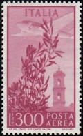 ITALY - Scott #C124 Plane Over Capitol Bell Tower / Mint H Stamp - 1946-.. Republiek