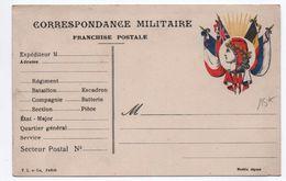 1918 - CARTE DE FRANCHISE MILITAIRE FM DRAPEAUX - Marcophilie (Lettres)