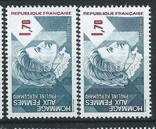 [17] Variété : N° 2361 Hommage Aux Femmes Bleu-gris Au Lieu D'ardoise + Normal  ** - Varieties: 1980-89 Mint/hinged