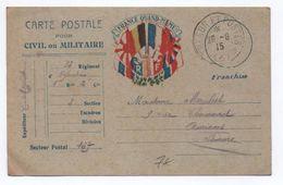1915 - CARTE DE FRANCHISE MILITAIRE FM DRAPEAUX - Marcophilie (Lettres)