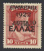 Greece, Crete, 10 L. On 10 L, 1923, Sc # 292, Mi # 272, MH - Greece