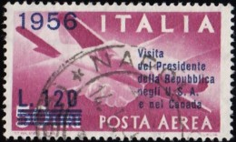 ITALY - Scott #C136 Plane And Clasped Hands 'Surcharged' / Used Stamp - 1946-.. Republiek