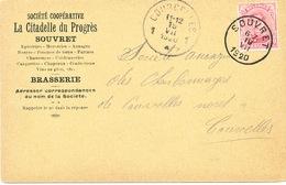 YY555A  - Carte Privée TP Petit Albert SOUVRET 1920 Vers COURCELLES - Entete BRASSERIE La Citadelle Du Progrès - Birre