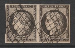 France, Cérès 20c., Very Nice Pair, 1849 , VFU - 1849-1850 Ceres